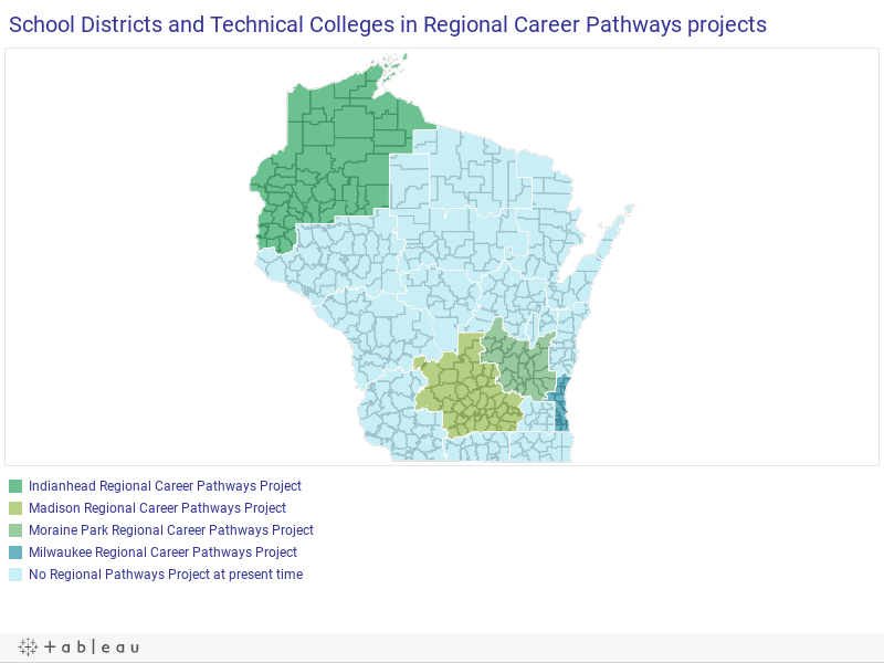 School Districts and Technical Colleges participating in Regional Career Pathways projects