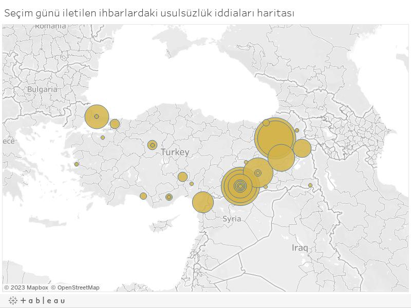 Seçim günü iletilen ihbarlardaki usulsüzlük iddiaları haritası