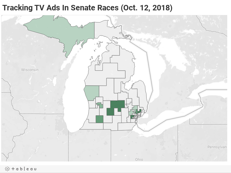 Tracking TV Ads In Michigan Senate Races (Oct. 12, 2018)