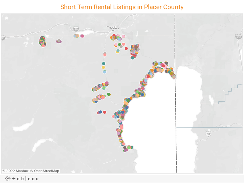 Short Term Rental Listings in Placer County