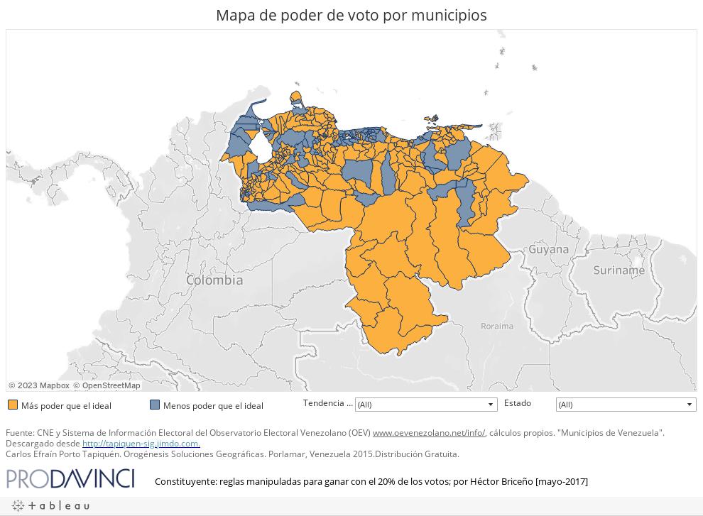 Mapa de poder de voto por municipios