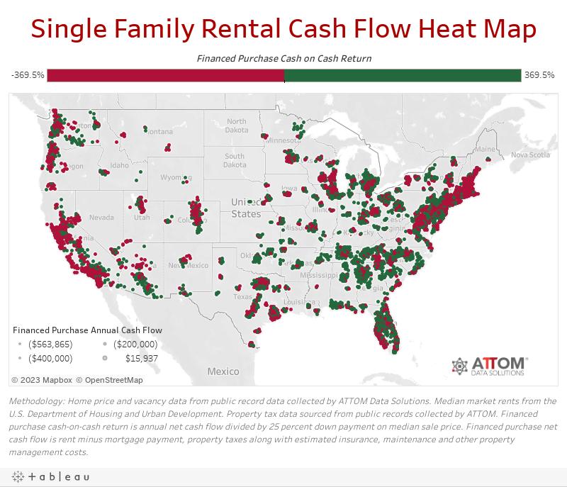 Single Family Rental Cash Flow Heat Map
