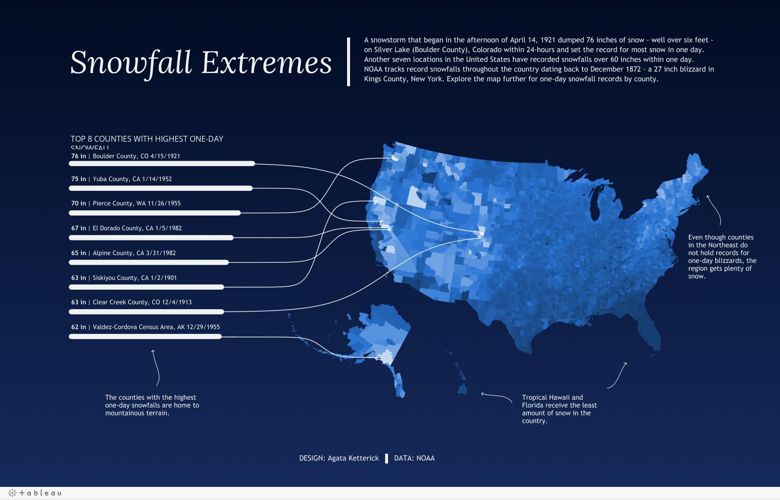 Najlepsze wizualizacje danych 2020 - rekordowe opady śniegu w USA
