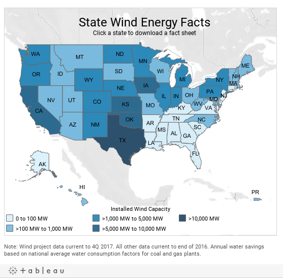 State Fact Sheets - Us wind energy map