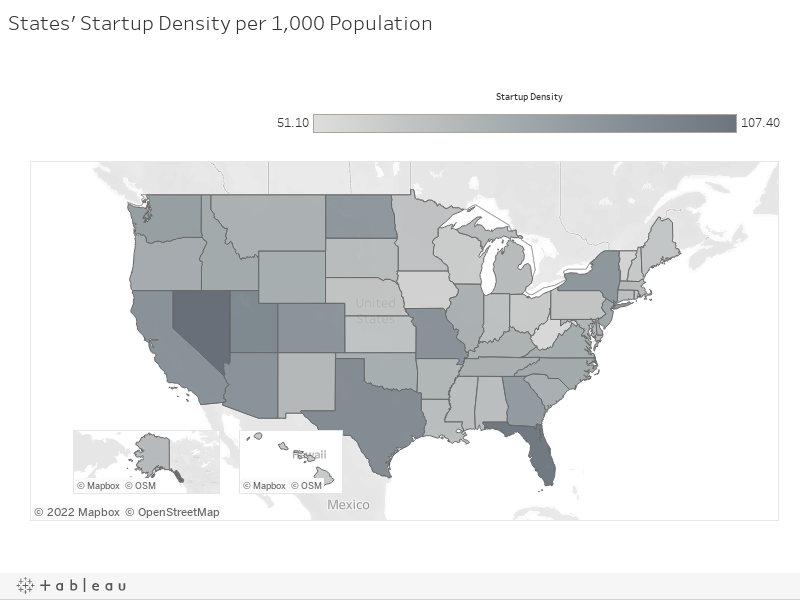 States' Startup Density per 1,000 Population