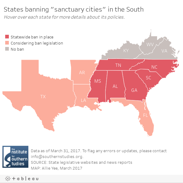 Feds States Target Southern Sanctuary Cities Leaving Local - Map of us sanctuary cities