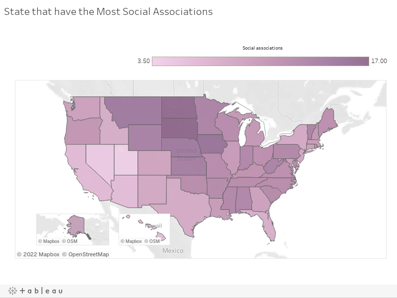 State that have the Most Social Associations