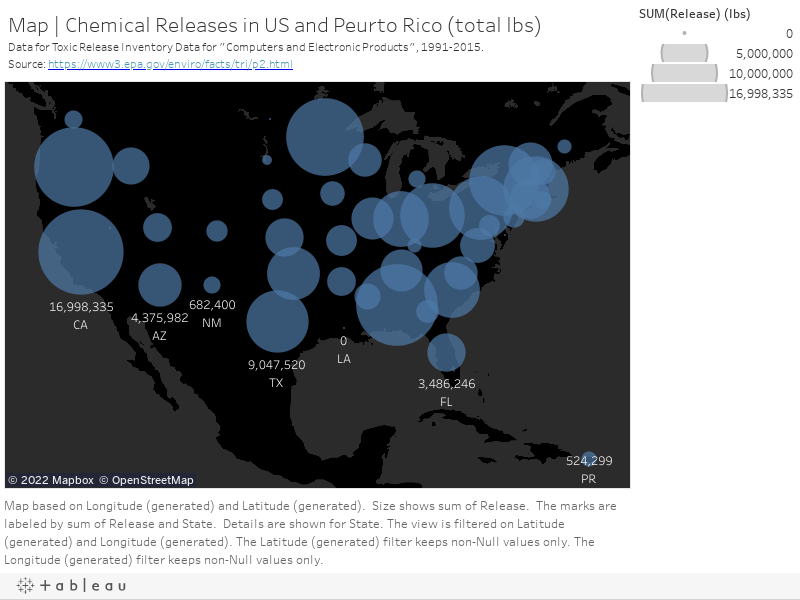 "Map | Chemical Releases in US and Peurto Rico (total lbs)Data for Toxic Release Invetory Data for ""Computers and Electronic Products"", 1991-2015.Source: https://www3.epa.gov/enviro/facts/tri/p2.html"