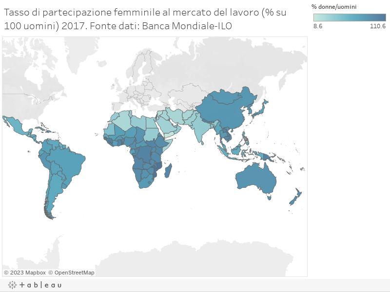 Tasso di partecipazione femminile al mercato del lavoro (% su 100 uomini) 2017. Fonte dati: Banca Mondiale-ILO