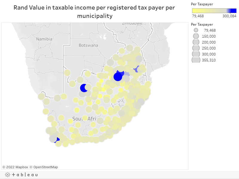 Rand Value in Taxes paid per registered tax payer per municipality