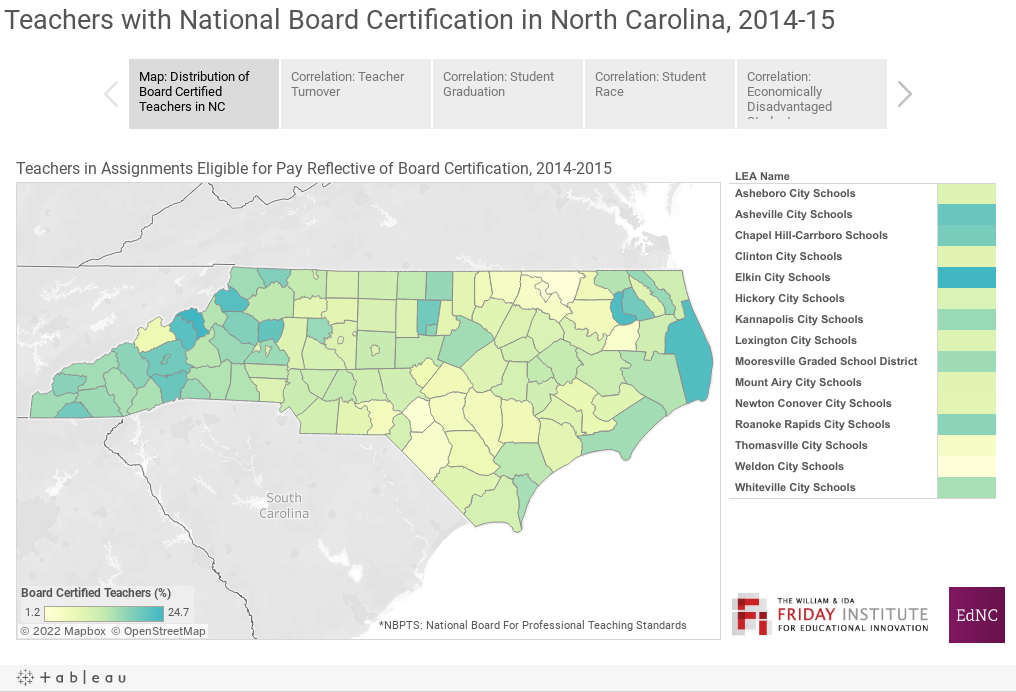 Teachers with National Board Certification in North Carolina, 2014-15