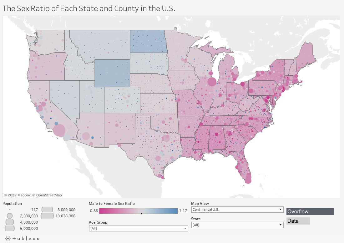 The Sex Ratio of Each State and County in the U.S.