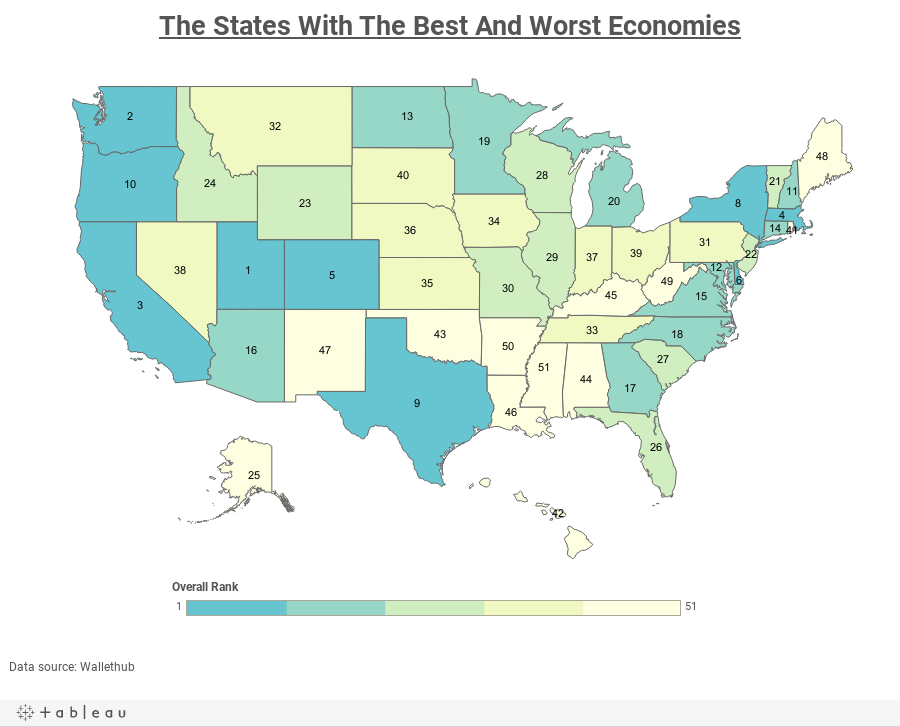 The states with the best and worst economies us best and worst states freerunsca Image collections