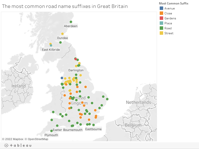 The most common road name suffixes in Great Britain