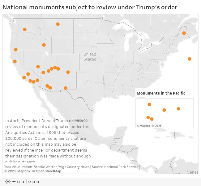 National monuments subject to review under Trump's order