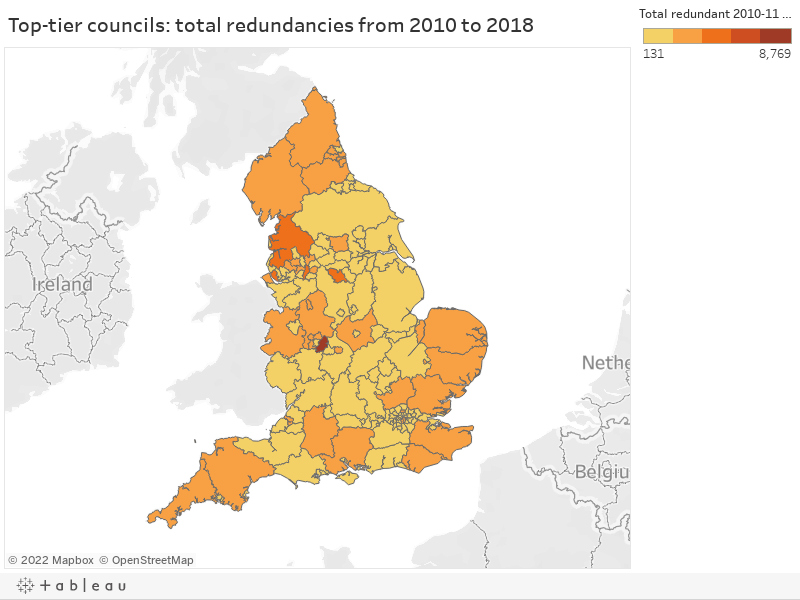 Top-tier councils: total redundancies from 2010 to 2018