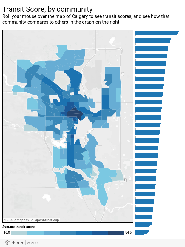 Transit score, by communityRoll your mouse over the map of Calgary to see transit scores, and see how that community compares to others in the graph on the right.