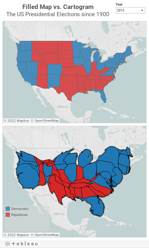 Filled Maps vs CartogramsThe presidential Elections in the US since 1900