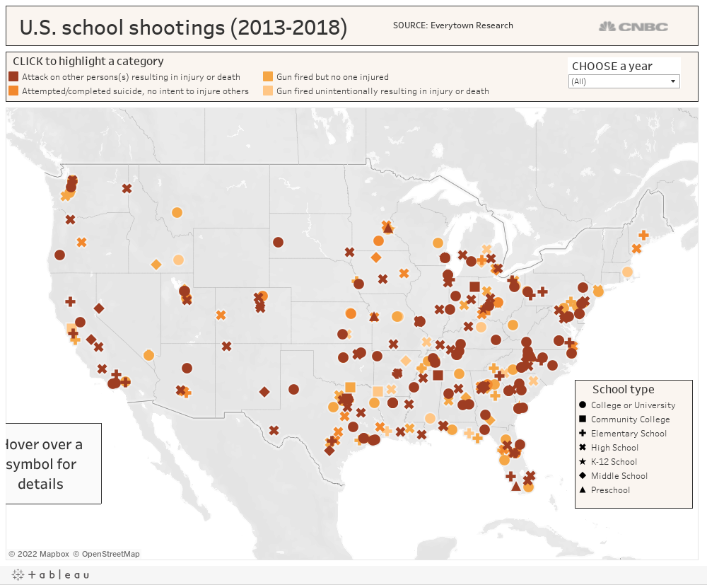 here is a map of all the shootings on school grounds since 2013