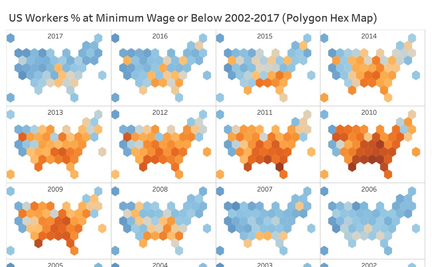 Flipboard: US Workers % at Minimum Wage or Below 2002-2017 (Polygon ...
