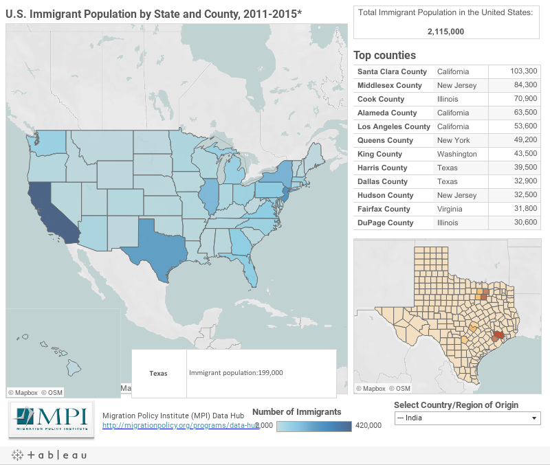 US Immigrant Population By State And County Migrationpolicyorg - Us map population proportion to smallest state grid