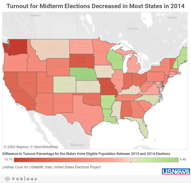 Midterm Turnout Decreased In All But States Data Mine US News - Election turn out us map