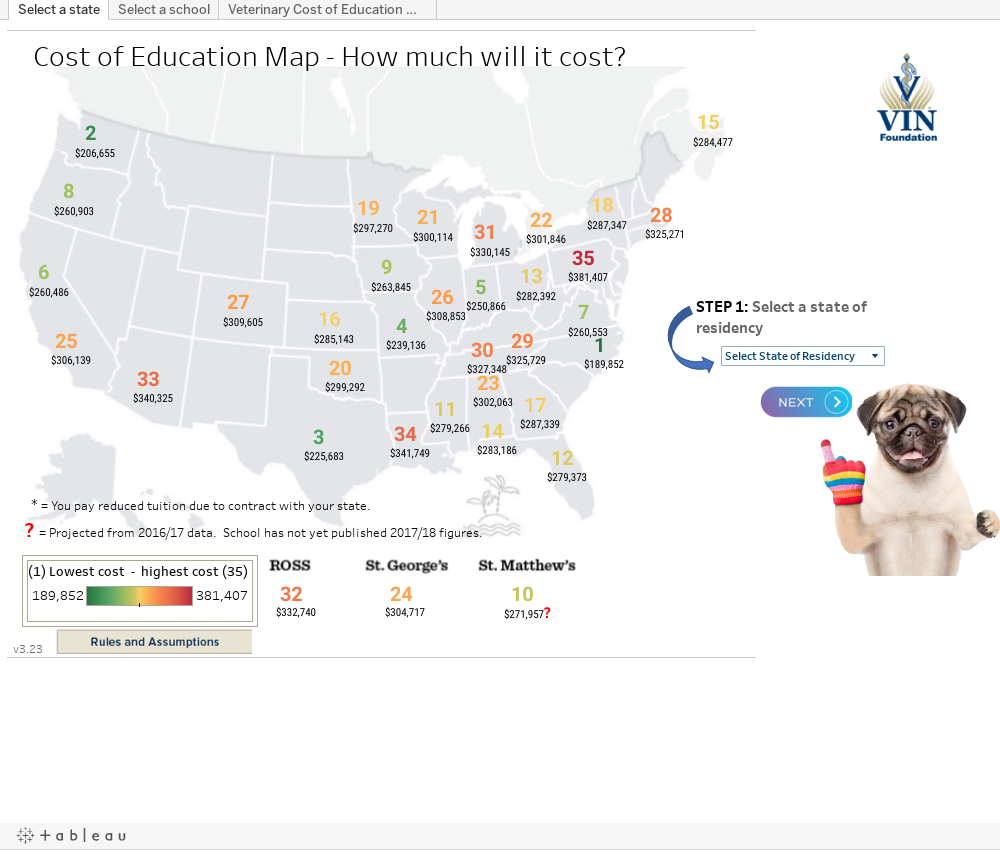 VIN Foundation Cost Of Education Map I Want To Be A Veterinarian - All vet schools in the us map