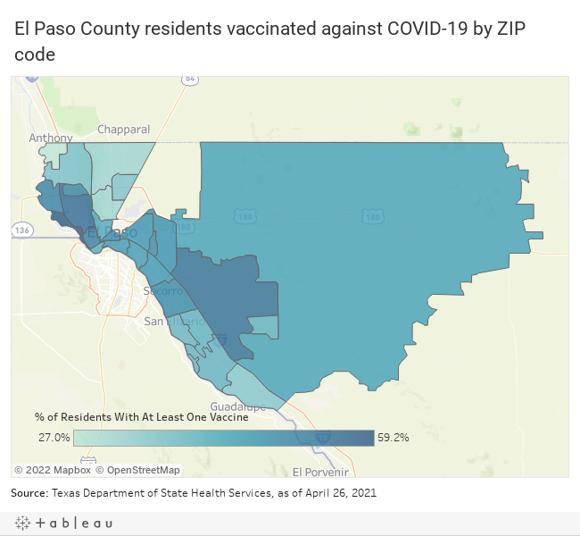 El Paso County residents vaccinated against COVID-19 by ZIP code