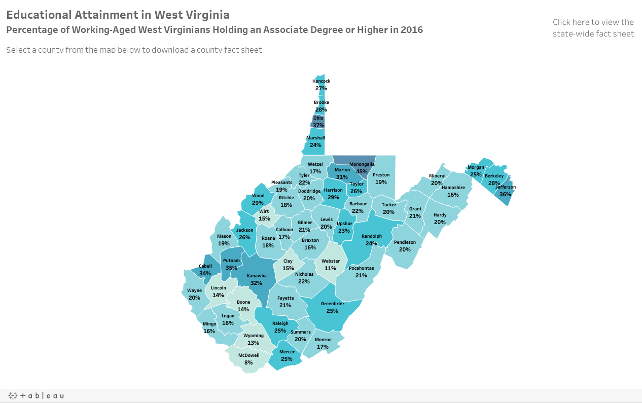 West Virginia Attainment Map by County