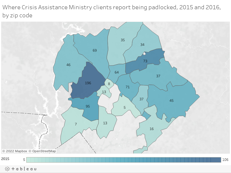 Where Crisis Assistance Ministry clients report being padlocked, 2015 and 2016, by zip code