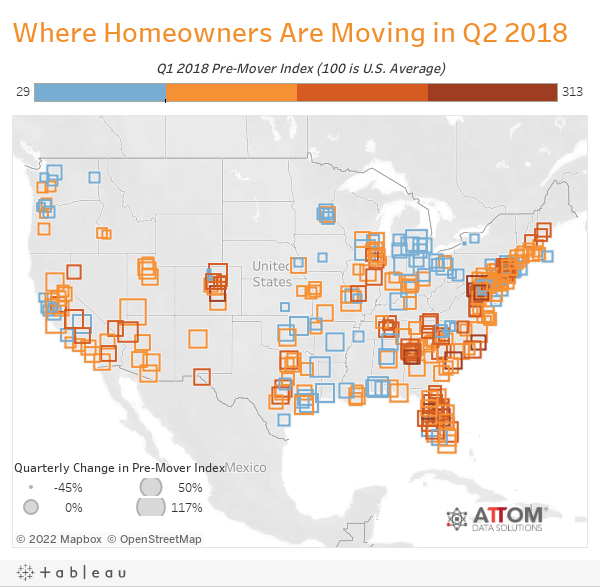 Where Homeowners Are Moving in Q2 2018
