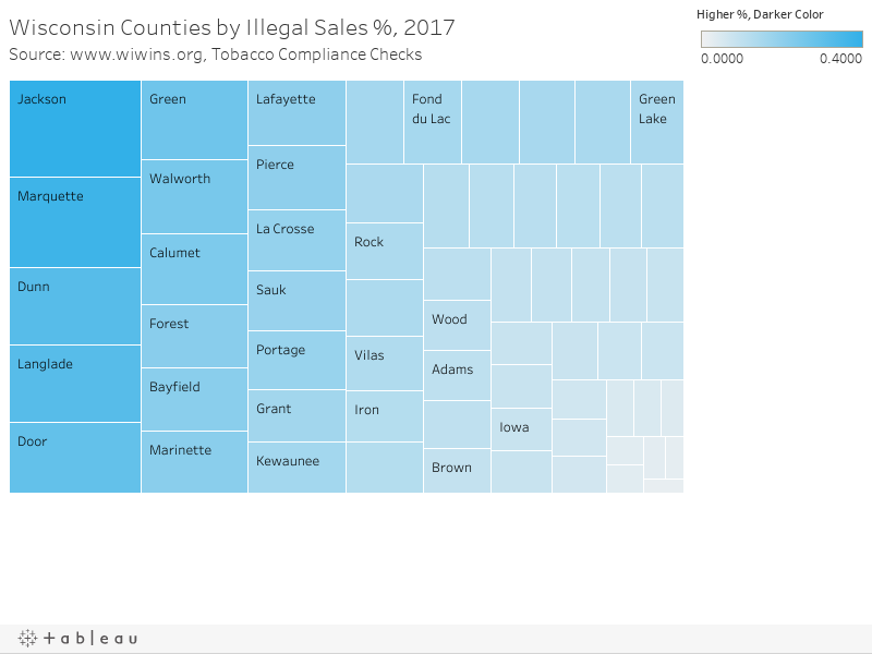 Wisconsin Counties by Illegal Sales %, 2017Source: www.wiwins.org, Tobacco Compliance Checks