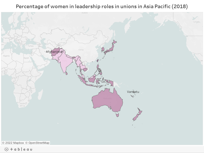 Percentage of women in leadership roles in unions in Asia Pacific
