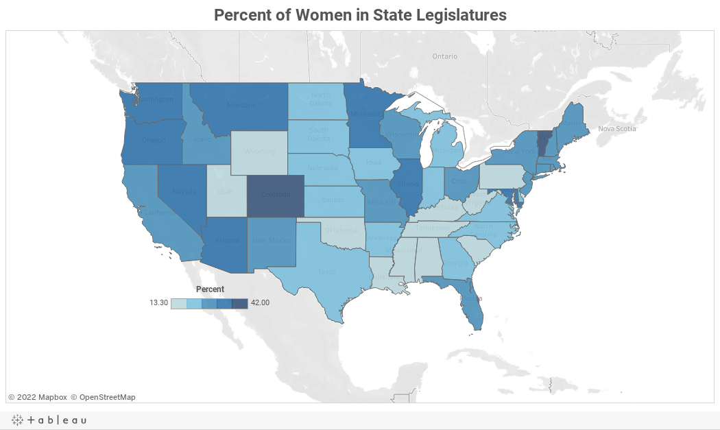 This Map Shows The Number Of Women In Every State Legislature Pbs