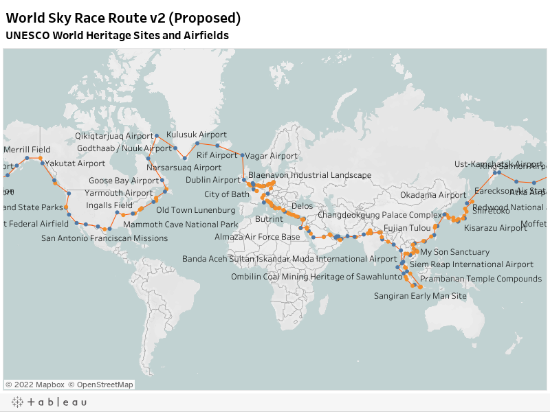 World Sky Race Route v2 (Proposed)UNESCO World Heritage Sites and Airfields