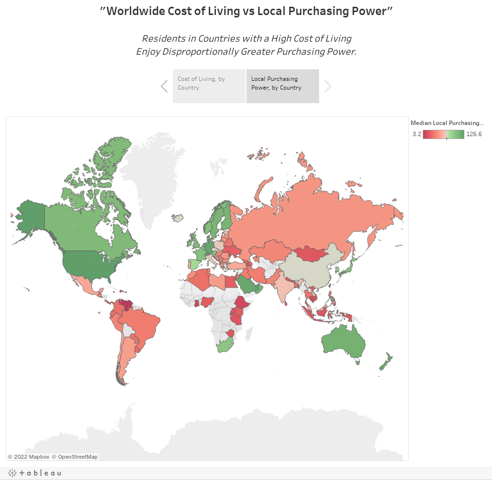 """Worldwide Cost of Living vs Local Purchasing Power""Residents in Countries with a High Cost of LivingEnjoy Disproportionally Greater Purchasing Power."