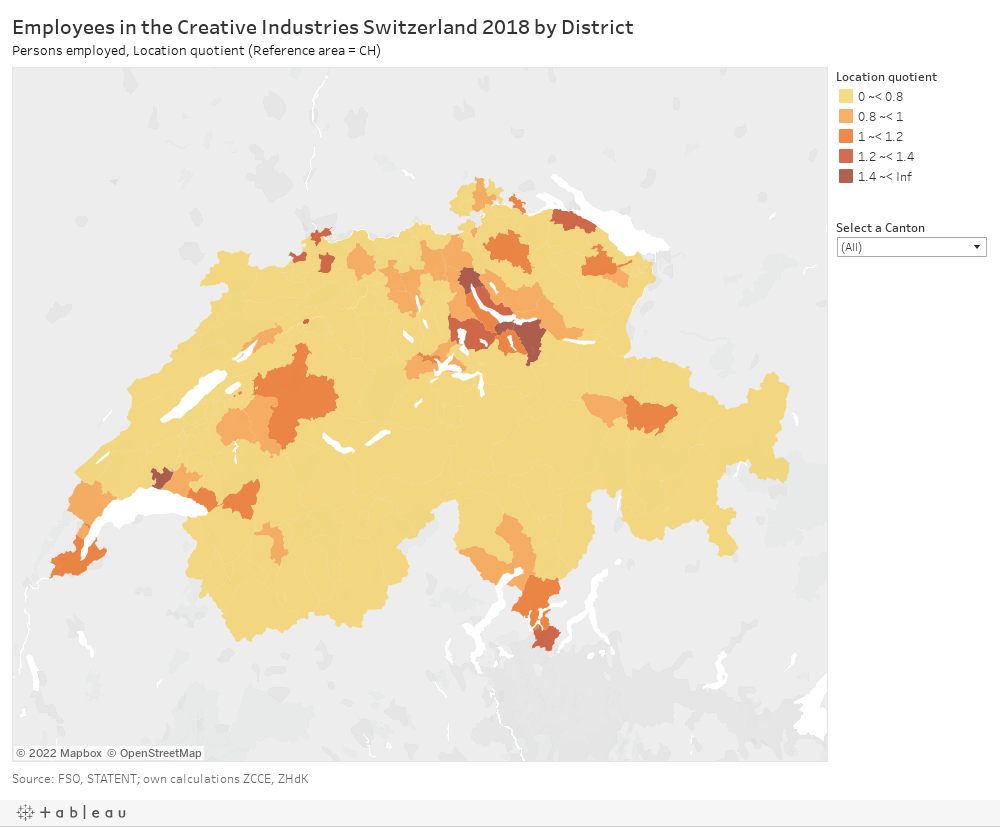 Employees in the Creative Industries Switzerland 2018 by DistrictPersons employed, Location quotient (Reference area = CH)