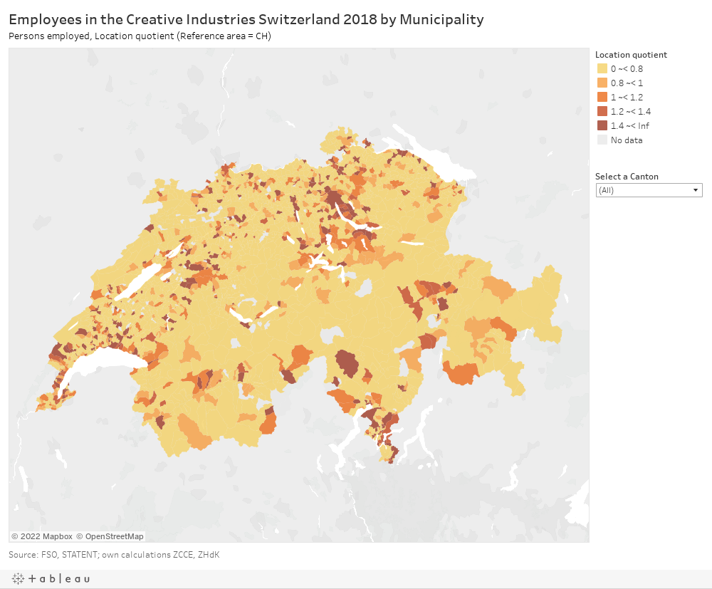 Employees in the Creative Industries Switzerland 2018 by MunicipalityPersons employed, Location quotient (Reference area = CH)
