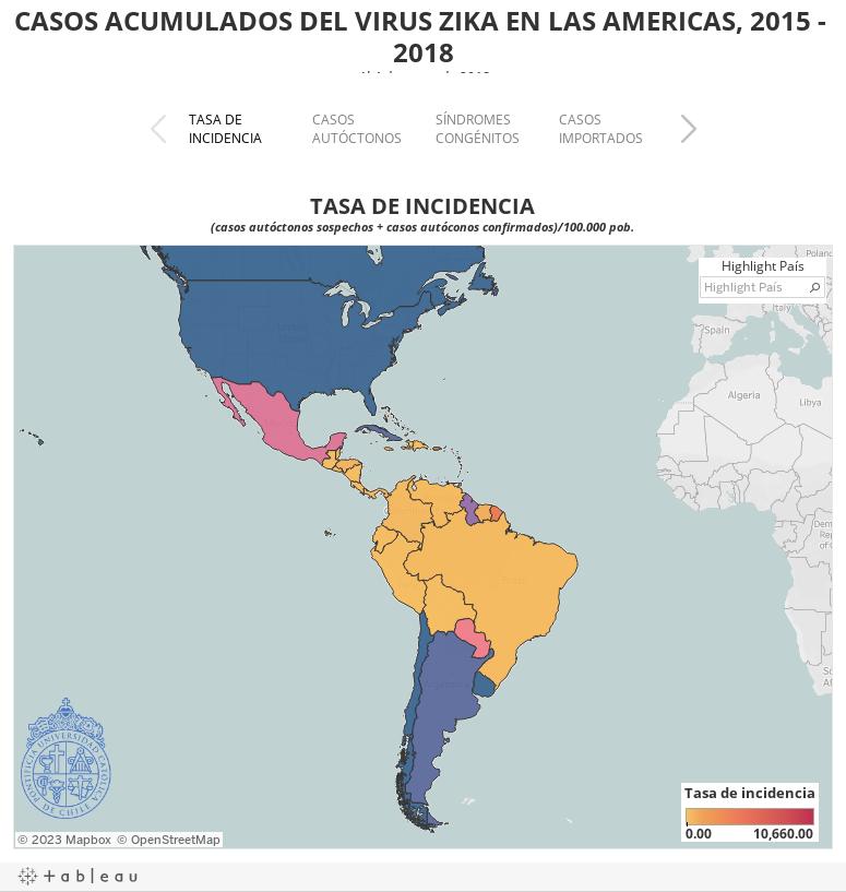 CASOS ACUMULADOS DEL VIRUS ZIKA EN LAS AMERICAS, 2015 - 2018Al 4 de enero de 2018Fuente: OMS