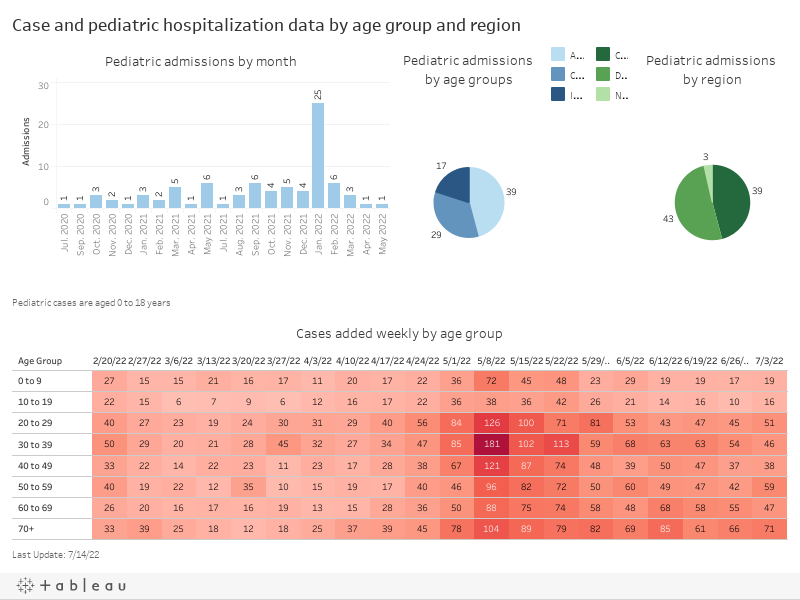 Case and pediatric hospitalization data by age group and region