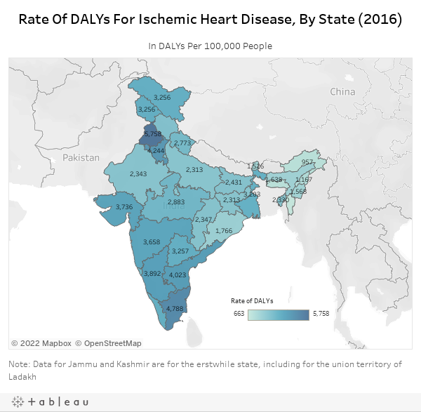 Rate Of DALYs For Ischemic Heart Disease, By State (2016)