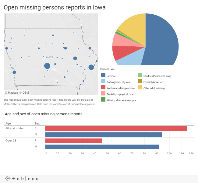 Open missing persons reports in Iowa