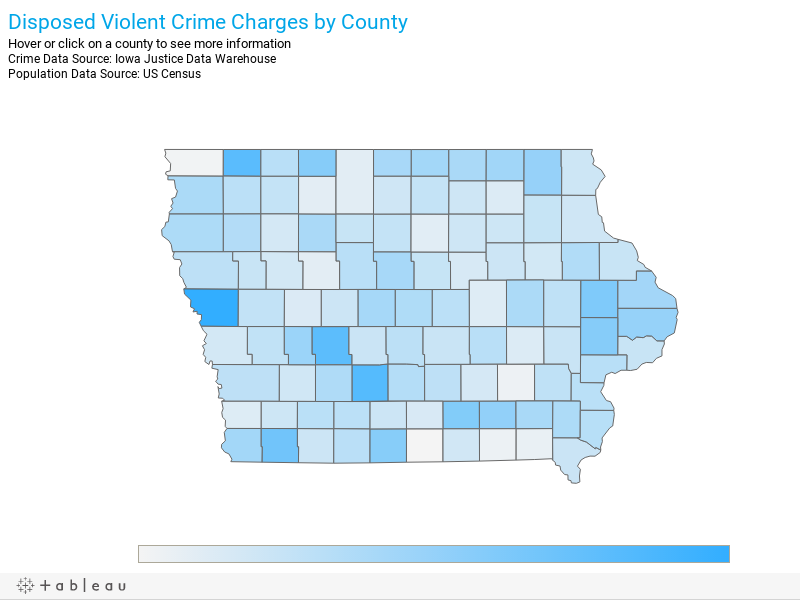 Disposed Violent Crime Charges by CountyHover or click on a county to see more information Crime Data Source: Iowa Justice Data WarehousePopulation Data Source: US Census
