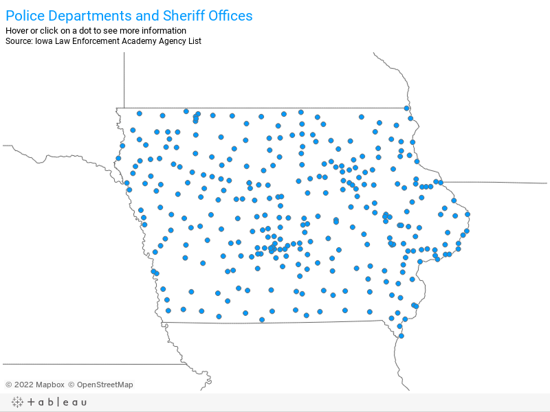 Police Departments and Sheriff OfficesHover or click on a dot to see more information Source: Iowa Law Enforcement Academy Agency List