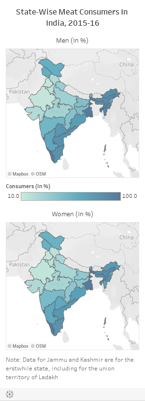 State-Wise Meat Consumers In India, 2015-16
