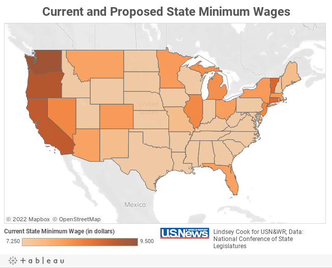 Current And Proposed State Minimum Wages