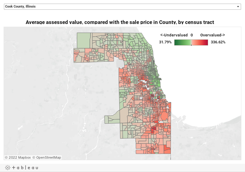 Average assessed value, compared with the sale price in County, by census tract