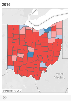 Ohio presidential election results - 1960 to 2016 (county details ...