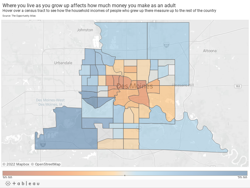 Where you live as you grow up affects how much money you make as an adultHover over a census tract to see how the household incomes of people who grew up there measure up to the rest of the countrySource: The Opportunity Atlas