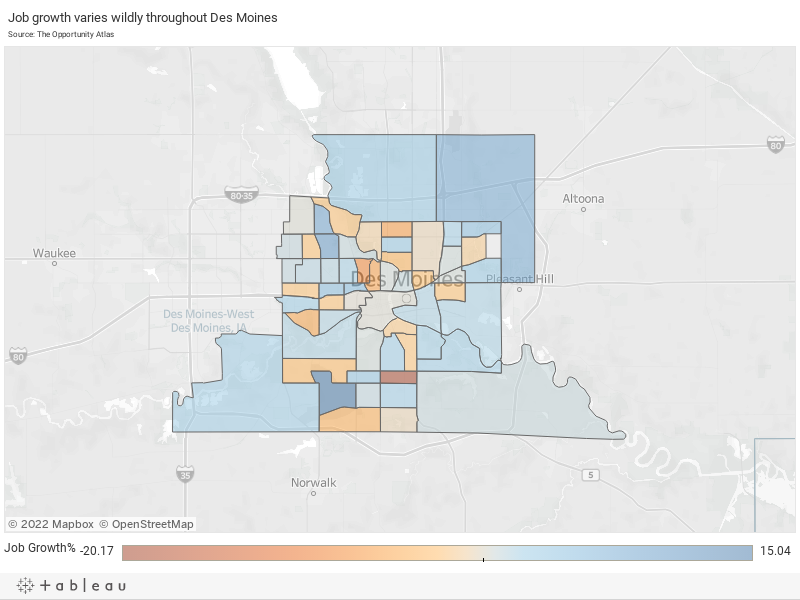 Job growth varies wildly throughout Des MoinesSource: The Opportunity Atlas